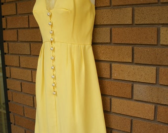 Gorgeous One Of A Kind Yellow Vintage Dress With Large Pearl Buttons And Sheer Detailing Around Neck And Chest