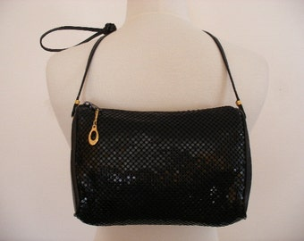 Sexy Black Shinny Vintage 80s Evening Purse Bag