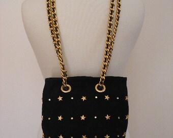 Navy Suede Nautical Purse- Gold Metal Vintage - 80s Spanish Designer - BEVERLEY FELDMAN - Gold Star Diamond Purse