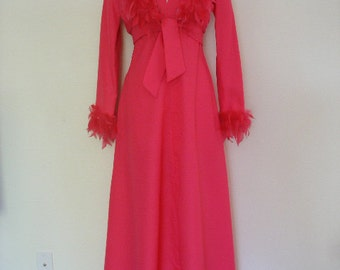 Old Hollywood Oscar Worthy Vibrant Pink Vintage 60s Halter Dress With Matching Feather Collar Jacket