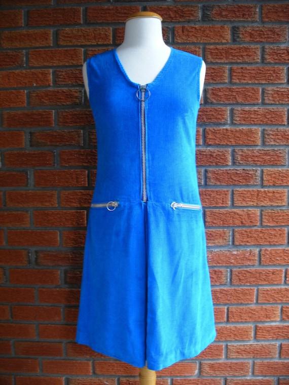 1960s Rich Blue Vintage Spring Corduroy Day Dress