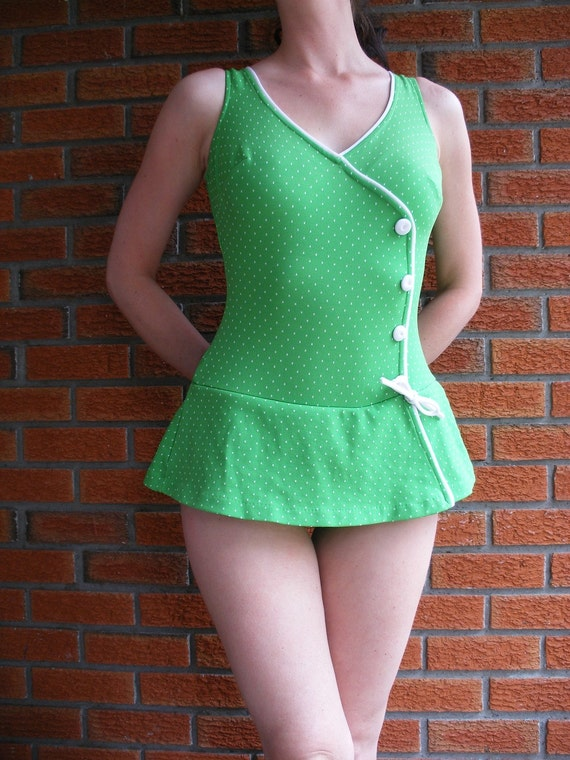 Green 50s Swimsuit With White Polka Dots