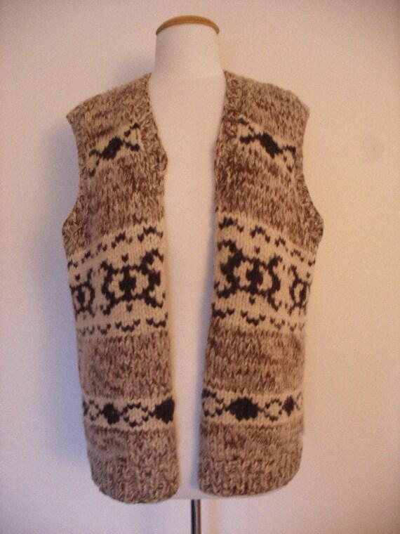 Unisex Cowichan Navajo 70s Vintage Sweater Vest In Browns And Cream