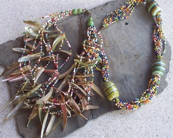 Glass-Shell-SeedBead Necklaces