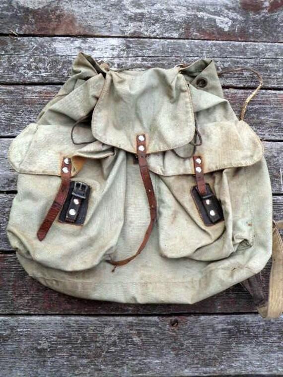 Everybody Loves It.... new lower price..vintage PACK Knapsack Backpack Rucksack hiking camping school bookbag canvas leather