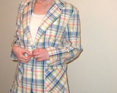 SALE Pastel Plaid Seersucker Vintage 80s Blazer XL