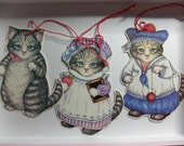 1980'S KiTTY CuCUMBER Cats Name Tags, or Place Cards- Die Cut - Laminated--set of  Three