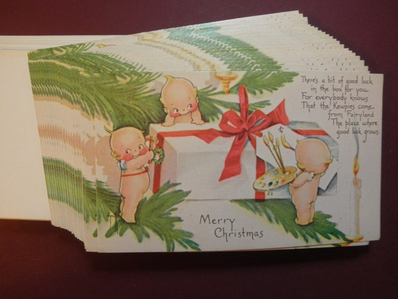 REDUCED PRICE --- 24 Christmas Cards -- KEwPIE - REProduction from an Old Card. with envelopes