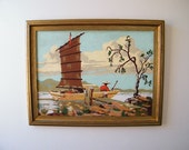 Vintage PBN Paint By Numbers Chinese Junk Landscape Seascape Painting