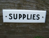 Antique Vintage Milk Glass Embossed Painted Black and White Room Sign Supplies
