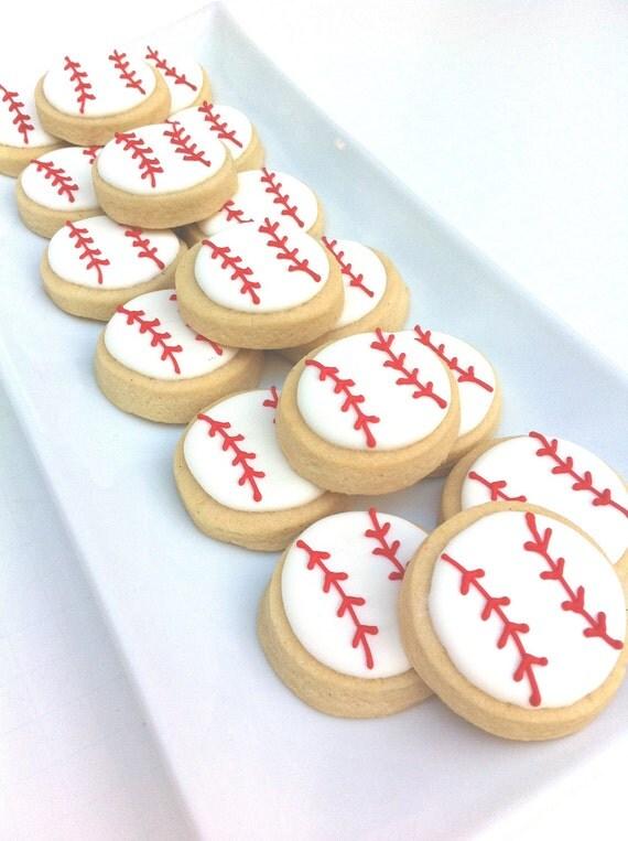 "Home Run Baseball Cookies (1 dozen 1.5"")"
