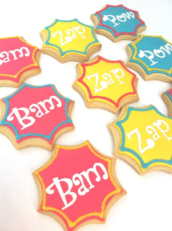 Super Hero Word Cookies (1 dozen)