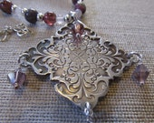 Fine Silver Pendant Necklace with Tourmaline  and Rose Quartz Gemstones and Crystals