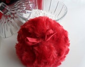 Powder Puff - soft scarlet red plush - rouge pouf - gift boxed