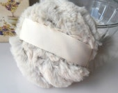 Ivory Beige Powder Puff  - soft chinchilla faux fur - poudre duster - gift box option - handmade by Bonny Bubbles