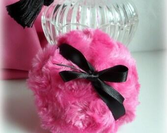Powder Puff - La Petite Cerise Noir - pink and black - miniature pouf - gift box option - handmade by Bonny Bubbles