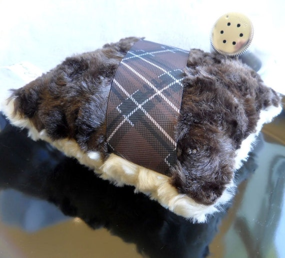 Mens Powder Duster - chocolate brown and plaid - masculine - square body powder pouf