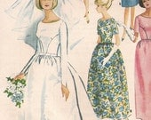 Vintage 60s Wedding Dress Pattern Detachable Train with Bell Skirt WEDDING GOWN Brides Maid Dress, McCalls 7572 Size 9, Bust 30.5