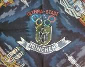 Vintage Black Velvet Pillow Souvenir  Pillowcase,Munich Olympic 1972