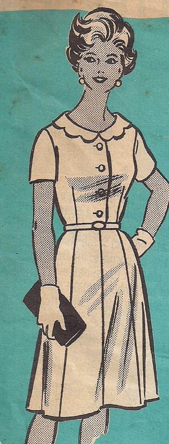 Vintage 60s Rockabilly Day Dress Pattern,Mail Order 4973, Size 16 1/2, 37 Bust