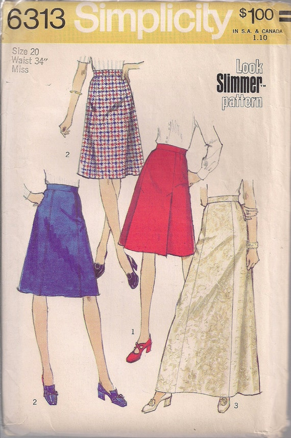 vintage 70s skirt pattern skirt pleated a line by