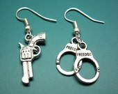 Gun Handcuffs Earrings - geek jewelry funny jewellery fun cute earrings handgun earrings pistol earrings funky earrings quirky earrings