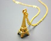 Eiffel Tower Necklace - i love paris france europe travel holiday trip golden pendant romantic jewellery cute jewelry szeya designs