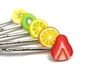 5 Fruit Slice Bobby Pin Set - Strawberry Orange Lemon Kiwi Banana rainbow hair clips cute bobby pin barrette quirky kawaii funky funny chic