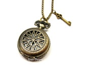 Key To Destiny Locket Watch Necklace - victorian steam punk jewelry eight pointed star jewellery small size long chain bronze szeya designs