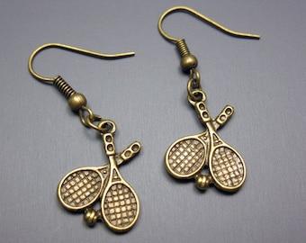 Tennis Racket Earrings - fun earrings cute earrings quirky earrings geek chic nerdy rockabilly earrings funny jewelry funky earrings