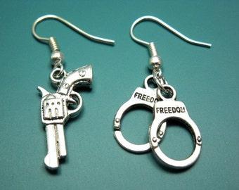 Gun Handcuffs Earrings - geek jewelry funny jewellery fun cute earrings handgun earrings pistol earrings funky earrings quirky earrings