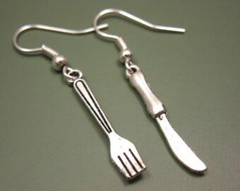 Fork Knife Earrings - tiny earrings cutlery cute earrings mini earrings quirky jewellery food earrings funny earrings fun rockabilly jewelry