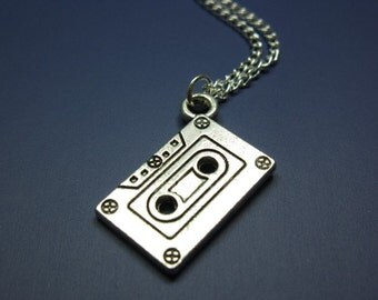 Cassette Necklace - stainless steel chain mix tape retro 80s 90s geeky nerdy funky necklace quirky cute jewelry punk geek nerd old school