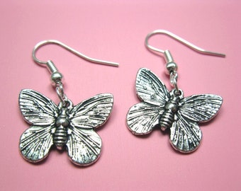 Butterfly Earrings - cute earrings retro earrings insect earrings romantic earrings chic earrings kitsch earrings fun earrings silver plated