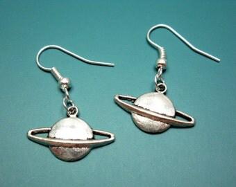 Planet Saturn Earrings - geek jewelry nerd earrings cute earrings science freak funky quirky funny earrings rockabilly geeky chic nerdy