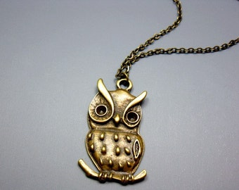 Bronze Owl Necklace - cute necklace bird necklace woodland animal necklace retro jewellery vintage style kawaii necklace szeya designs
