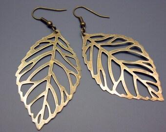 Skeleton Leaf Earrings -  filigree leaf earrings bronze leaf earrings vintage style retro earrings country style big leaf earrings szeya