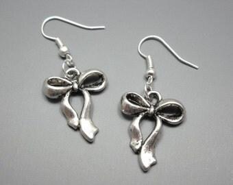 Bow Earrings - bowknot earrings ribbon earrings butterfly knot retro cute earrings chic kawaii earrings girly kitsch jewelry silver plated