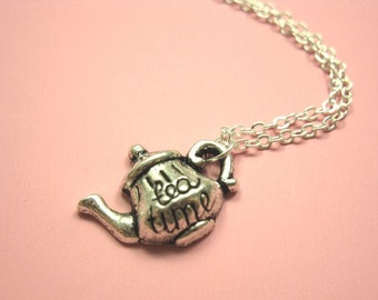 Teapot Necklace - stainless steel chain Alice in Wonderland Mad Hatter's Tea Party quirky jewelry cute necklace funny jewellery kawaii chic