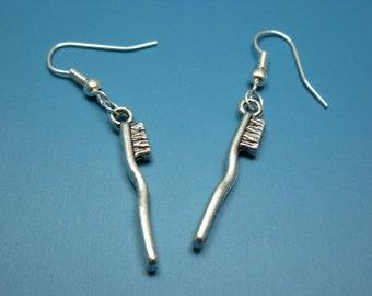 Tiny Toothbrush Earrings - quirky earrings cute earrings chic funny earrings funky earrings rockabilly jewellery miniature kawaii earrings