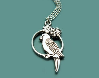 Little Budgie Necklace - stainless steel chain tiny parrot necklace parakeet cage swing bird necklace cute necklace animal jewelry chic