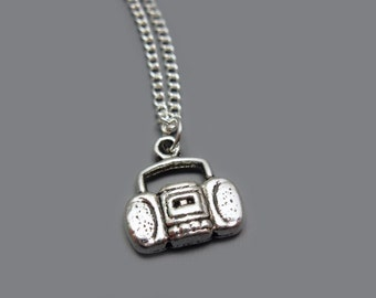 Boombox Necklace - stainless steel chain stereo radio music retro 80s 90s punk cute necklace geek nerd funky necklace quirky necklace