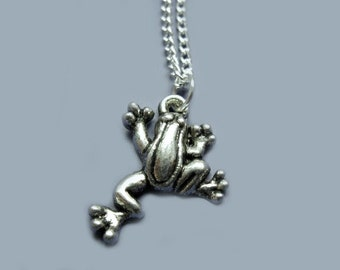 Treefrog Necklace - stainless steel chain animal necklace small pendant fun necklace cute necklace chic jewelry fish necklace custom length