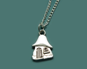 Mushroom House Necklace - stainless steel chain smurf inspired retro old school cartoon 80s 90s cute necklace quirky funny geek nerd jewelry