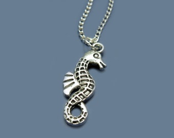 Seahorse Necklace - stainless steel chain seadragon sea horse necklace sea creature animal necklace chic jewellery cute necklace silver tone