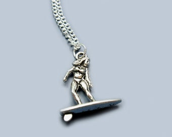 Surfer Necklace - stainless steel chain surfing swimming funny jewelry rockabilly necklace chic quirky jewellery funky necklace fun necklace