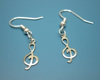 Treble Clef Earrings - music earrings small mini earrings musical note earrings cute earrings karaoke fun kawaii jewelry music note earrings