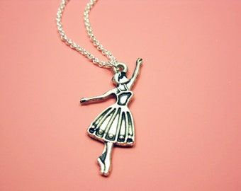 Ballerina Necklace - stainless steel chain ballet dancer performer fun necklace chic jewelry cute necklace girl jewellery gift for her