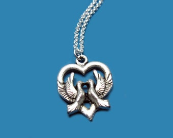 Love Birds Necklace - stainless steel chain dove necklace bird necklace pigeon heart pendant animal necklace silver tone szeya designs