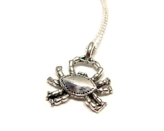 Crab Necklace - stainless steel chain sea creature animal necklace zodiac star sign cancer fish quirky jewelry cute necklace funny